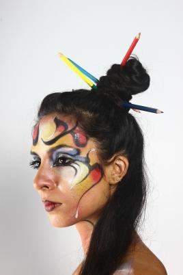 Réalisation du body painting et de la coiffure. Scéance photo, Inde